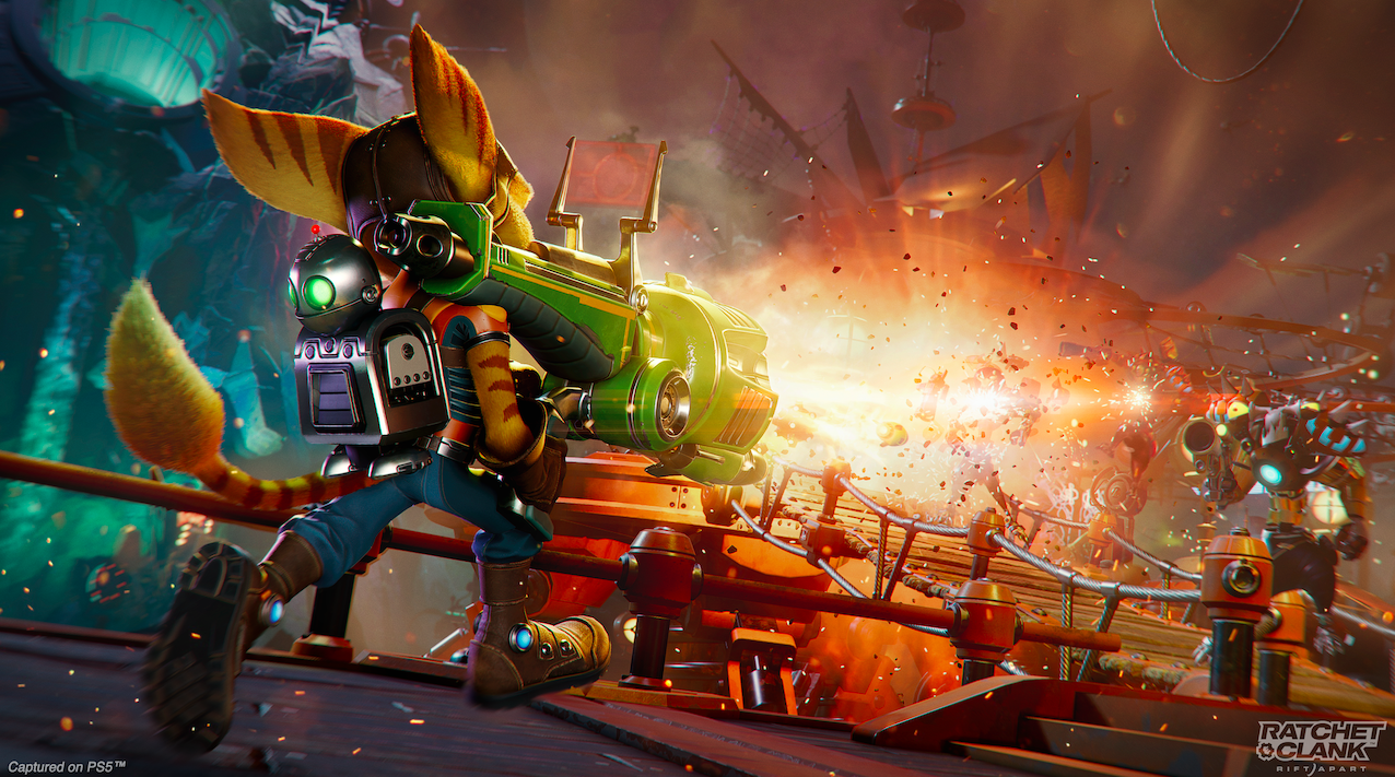 Image of Ratchet blowing up monsters in Ratchet & Clank: Rift Apart