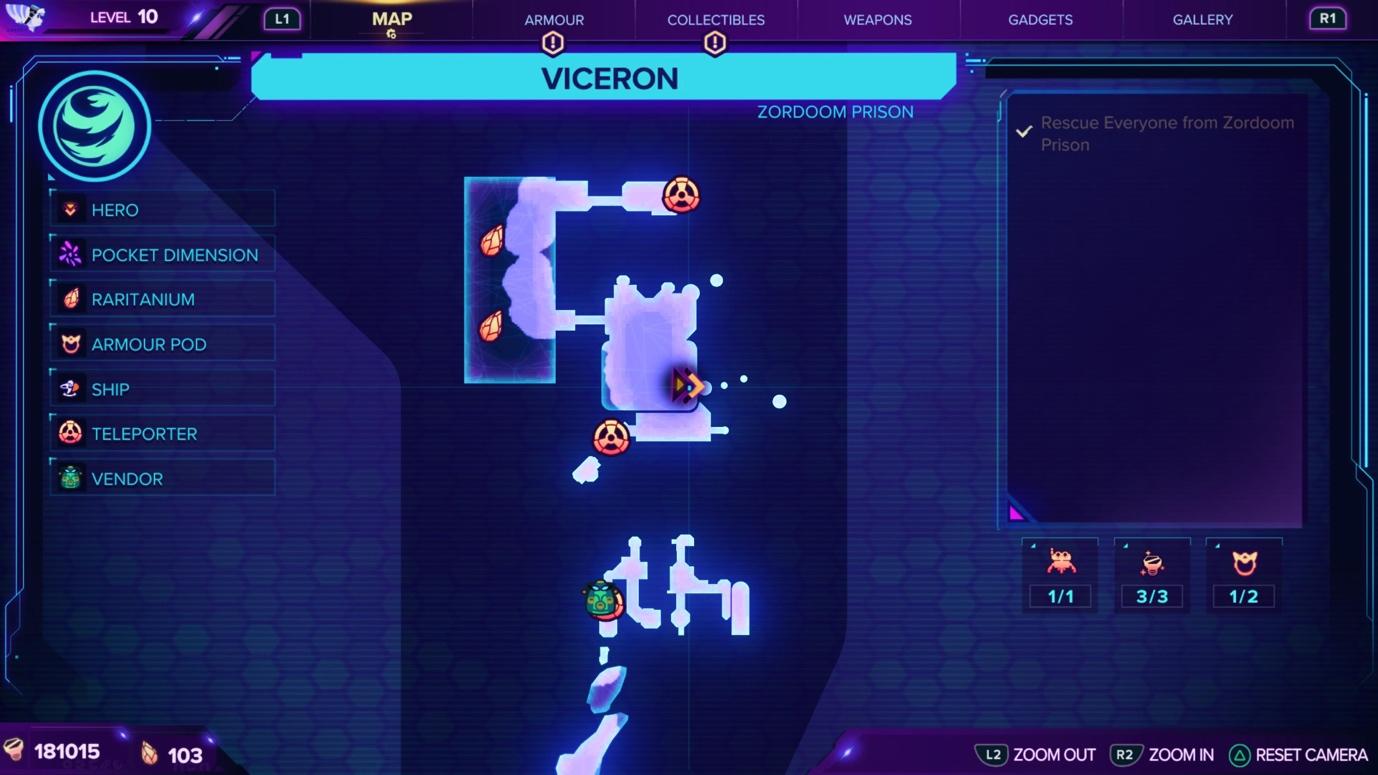 Ratchet & Clank: Rift Apart Viceron Map and Craiggerbear location